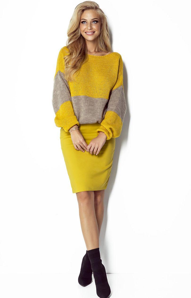 Sweter I302 - żółto-brązowy - Sklep OHSO.pl™ 5IXYBPNA