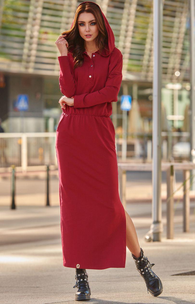 104b020b39 Dresowa sukienka maxi z kapturem L287 - Sklep OHSO.pl™