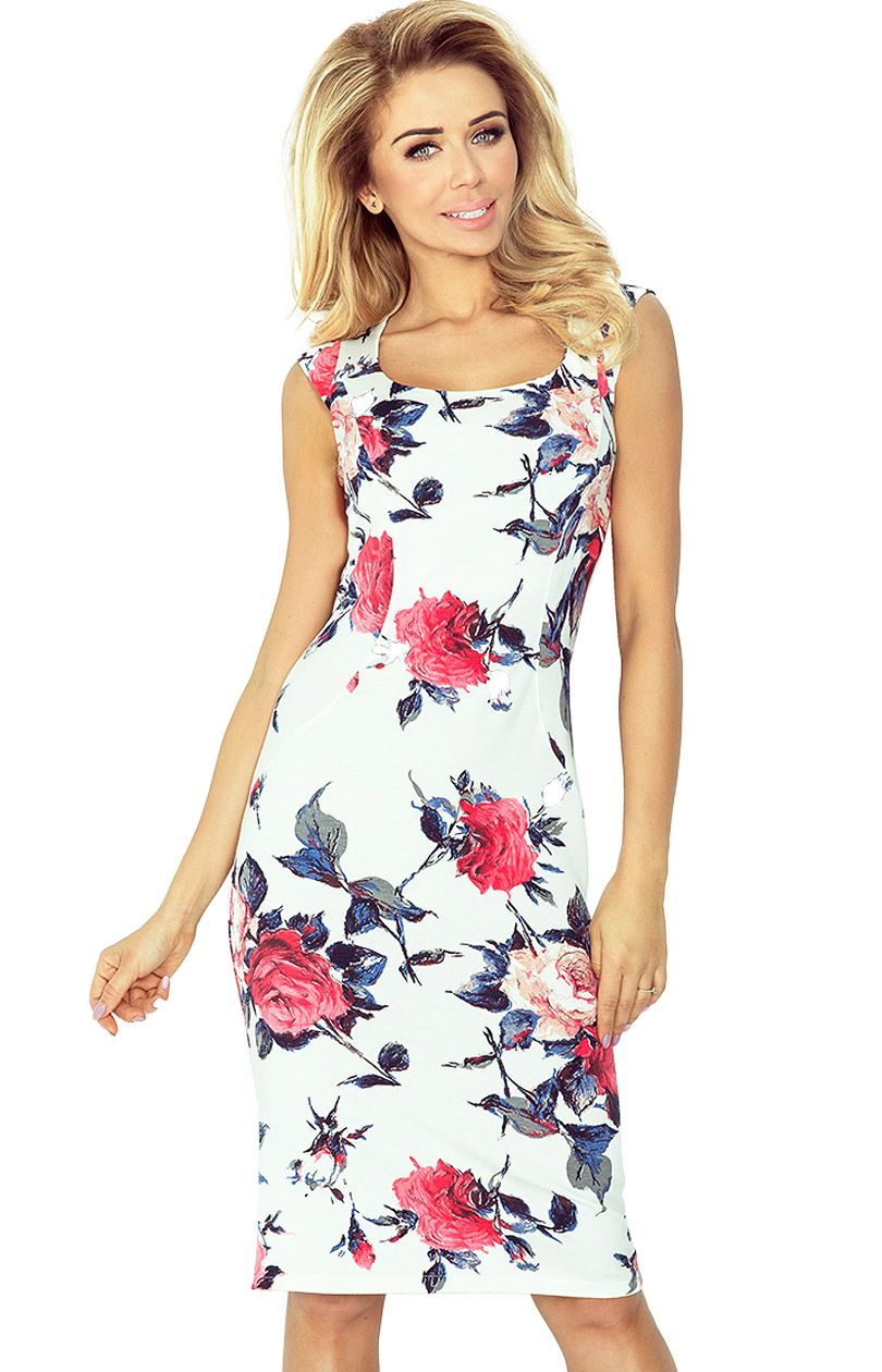 093f131310 Sukienka ołówkowa w kwiaty 53-30 - Sklep OHSO.pl™